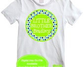 Personalized Little Brother Iron On - Sibling Shirt Iron On - Sibling Iron On - New Baby Iron On - Polka Dot Iron On