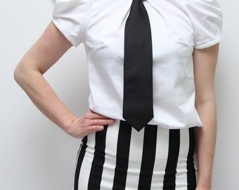 Puff sleeve white shirt, steampunk clothing, white shirt, high neck shirt, short sleeves white women shirt
