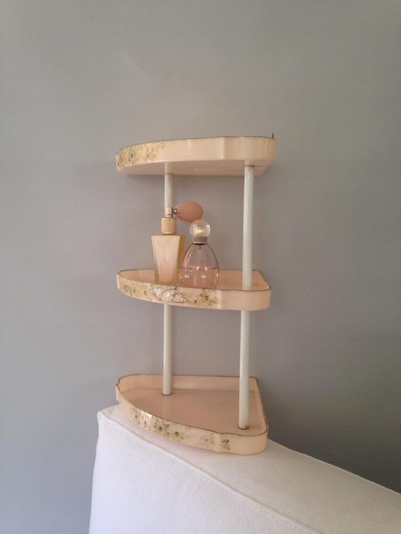 mid century pink corner shelf three tier bathroom by. Black Bedroom Furniture Sets. Home Design Ideas