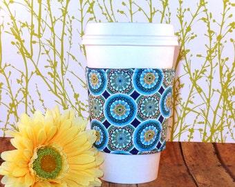 Fabric Coffee Cozy / Circles Coffee Cozy / Coffee Cozy / Tea Cozy
