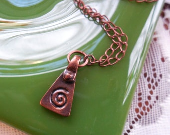 Spiral Necklace Unisex Copper Love Charm Amulet Engagement Handfasting Anniversary Birthday Gift Dad Mom Husband Wife Brother Sister Partner