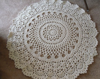 Cotton Oval Lace Thick Doily Kitchen Or Bath Rug Crocheted In