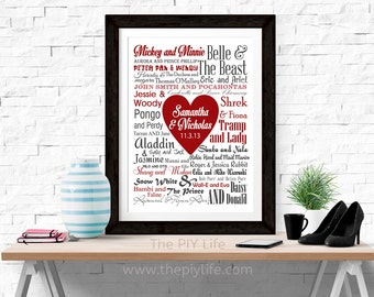 Home Decor | Disney Couples Love Center Heart Typography Wall Art, Gift, Printed Art, Digital Art, Office, Free Shipping Black Friday Sale