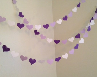Purple Paper Hearts Garland Baby Shower Decoration Wedding Decor Bridal Shower Decor Birthday Garland Custom Color 10ft