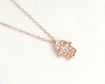 Rose Gold CZ Hamsa Necklace, Rose Gold Vermeil CZ Hamsa Necklace, Yoga Jewelry, Zen Jewelry, Good Luck Jewelry