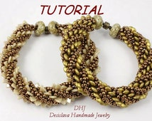 Tutorial PDF for beaded bracelet with two hole triangle beads or two hole lentil beads 6mm and Toho seed beads in bronze and gold colors