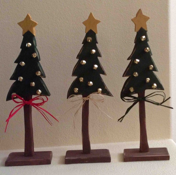 Hand Crafted Wood Christmas Tree Green And By