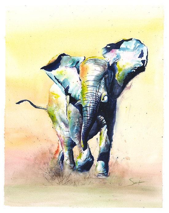 ELEPHANT PAINTING watercolor elephant art elephant lover - photo#26