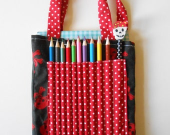 Pirate theme crayon bag and accessories