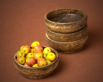 Miniature Wooden Fruit Bowl for Your Dollhouse