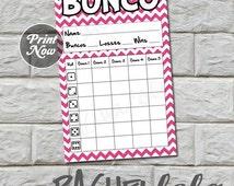 Bunco score card, purple chevron, instant download, Buy 2 Get 1 FREE