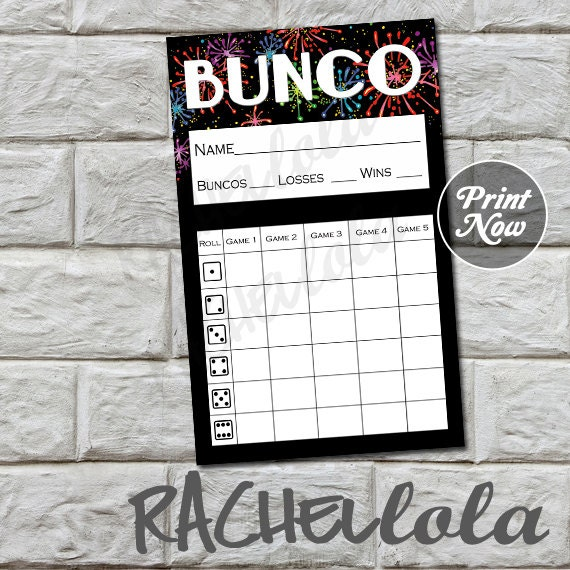 Fireworks bunco score card, score sheet, new years eve bunko party ...