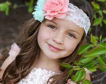 Peach Gold Headband, Gold Mint Headband, Spring Headband, Baby Shower Gift, Newborn Photo Prop, Adult Headband, Flower Girl Headband