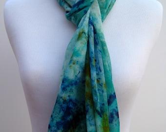 Blue hand-dyed silk scarf--Chiffon Silk