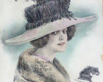 French Antique Fashion Hand-Painted Illustration -  Chic Parisien  -   11.8  x 16.1 inches.