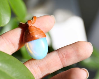 Leather Wrapped Opalite Necklace