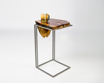 C Table - Solid Black Walnut Top with Metal base