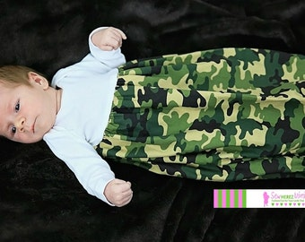 CAMO Coming Home Set Green or Black Camo Preemie NEWBORN 3 mos 6 mos Layette Gown Unisex Boy or Girl