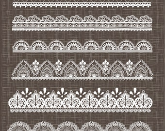 Lace border clipart, lace borders clipart pack with digital lace border for scrapbooking, invites - vector EPS PNG and Photohshop Brushes
