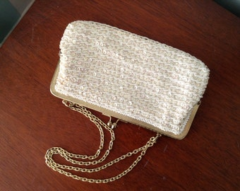 White Beaded and Sequin Evening Purse by Wallborg