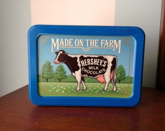 "Vintage Metal Hershey's Candy Box ""Made On The Farm"""