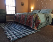 Woven Crochet 4x6 Area Rug, Rustic Plaid Rug, Handwoven Fringe Carpet Floor Mat, Shabby Decor Cottage Chic, Country Blanket Coastal Decor