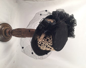 Victorian Top Hats,  Riding Top Hats, Steampunk Top Hats, Black with Gold, Facial Veil,  2754XX