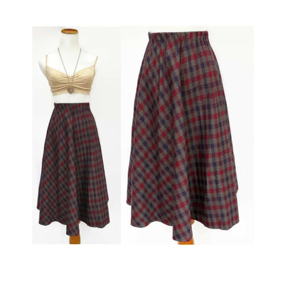 plaid 70s skirt high waisted skirt a line by