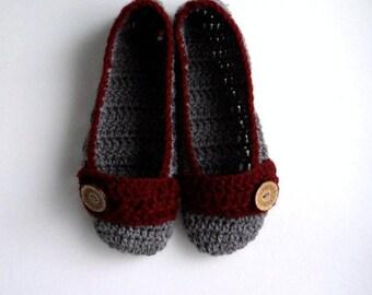 Valentine's Gift Size 9.5 Women's Grey Slippers Adult Slippers Crochet Slippers Crocheted Slippers House Slippers  Handmade Slipper