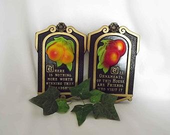 Vintage Plaques Fruit Plaques Miller Studios Chalk Ware 1970s Retro Decor Mid Century Kitchen Red Apples Yellow Pears Friendship Quotes