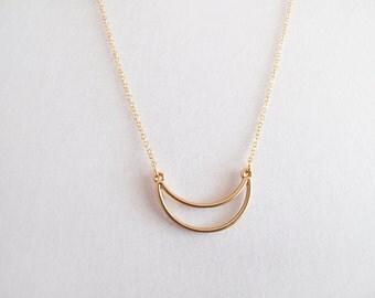 Gold Crescent Necklace - Geometric Necklace - Minimalist Necklace