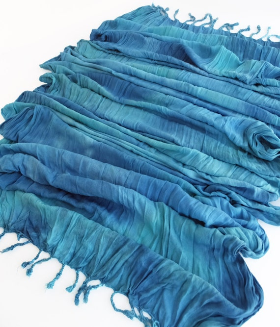 "Turquoise crinkle scarf - crinkle scarf - rayon scarf - fringe scarf - Pantone Scuba Blue - turquoise, peacock blue -  hand dyed - 20"" x 70"""