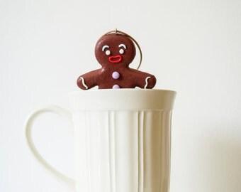 Christmas ornament Holiday ornament Polymer clay gingerbread man Christmas decor Brown ornament Home decor ornament Fairytale ornament