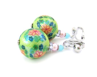Spring Green Garden Sphere Topiary Orb Dangle Clip on Earrings, Pink Flower Glitter Ball Unique Floral Jewelry