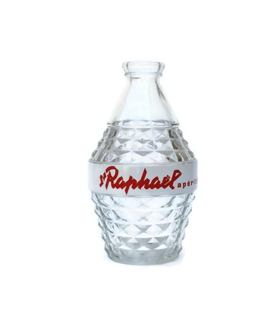 Caraffa di vetro di annata st raphael met secolo bicchieri for Bottiglia in francese