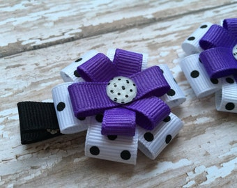 Purple White with Black Polka Dot Hair Bow - Purple Hair Clip - Purple Hair Bow - Small Purple Polka Dot Bow - Purple Bow -  Birthday Gift