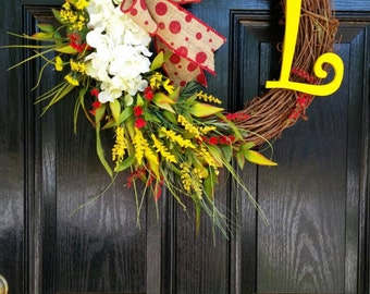 Grapevine Wreath Personalized Monogram Initial Burlap Ribbon Spring Summer Mothers Day Wedding Year Round Door Wreath Choose Colors