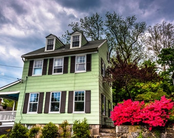 Old house and azalea bushes in Ellicott City, Maryland - Urban Nature Photography Fine Art Print or Wrapped Canvas