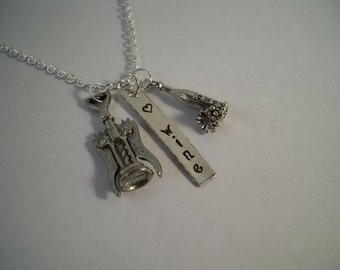 Wine Lover Hand Stamped Silver and Pewter Charm Necklace