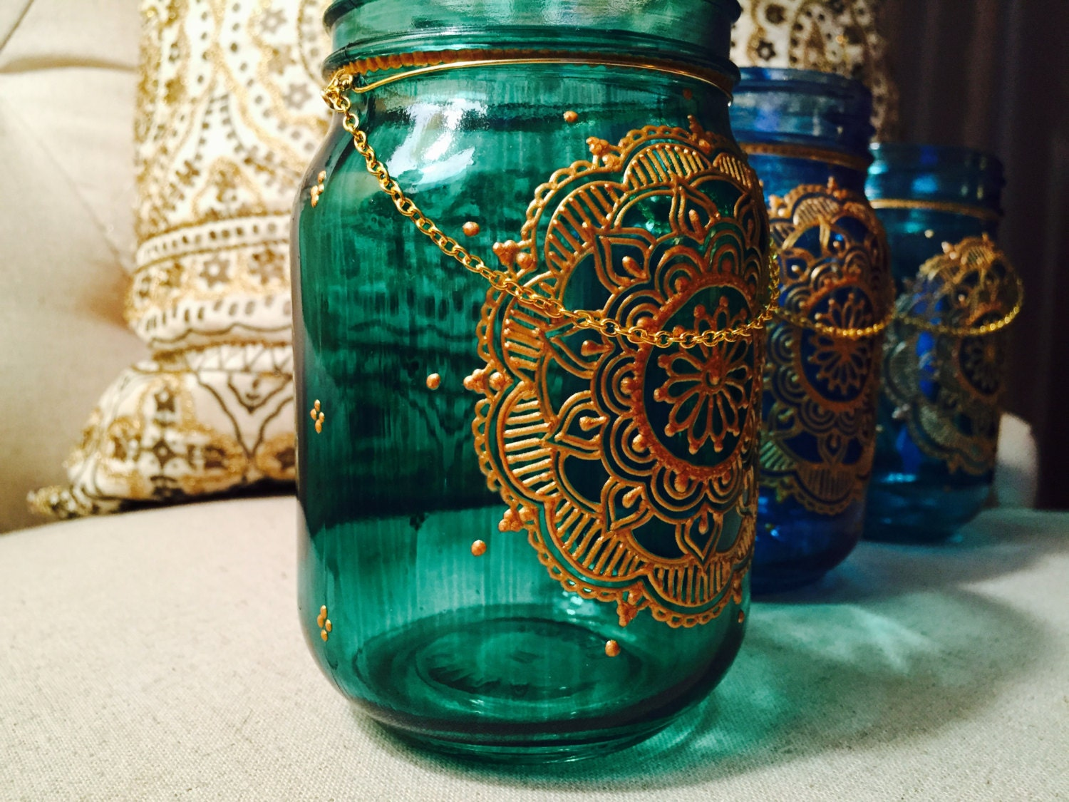 Mehndi Glass Decoration : Mason jar bohemian lantern moroccan home decor