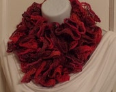 LYI72: Lace Yarn Infinity Scarf (Red Multi Sparkle) FREE SHIPPING!
