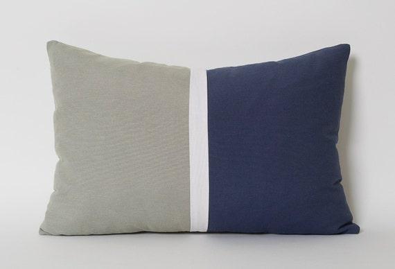 Navy Blue Light Gray White Colorblock Linen Lumbar Pillow