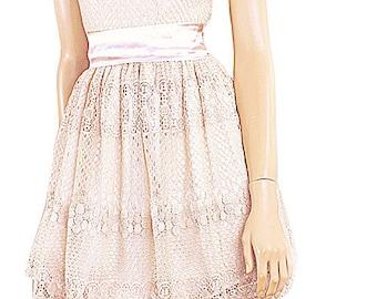 Latte romantic bridesmaid / evening /  cotton lace dress