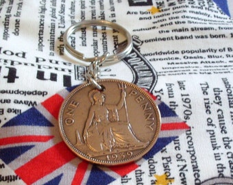 1939 1d 1d Old Penny English Coin Keyring Key Chain Fob King George VI
