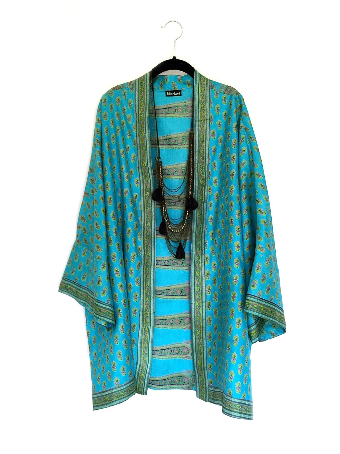 silk kimono jacket oversized cocoon cover up turquoise and. Black Bedroom Furniture Sets. Home Design Ideas