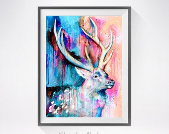 Deer 2 watercolor painting print, Deer art, animal art, animal watercolor, animals paintings, animal illustration, Deer  illustration