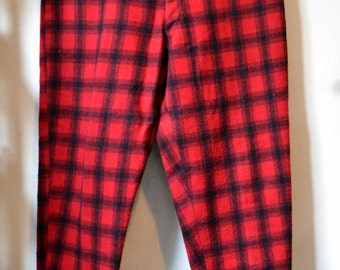 Vtg. L.L. BEAN Script Label Red/Black Buffalo Shadow Large Scale Plaid Wool Snow Pants Heavy Duty Winter Elastic Cuffs APPROXIMATELY Size 34