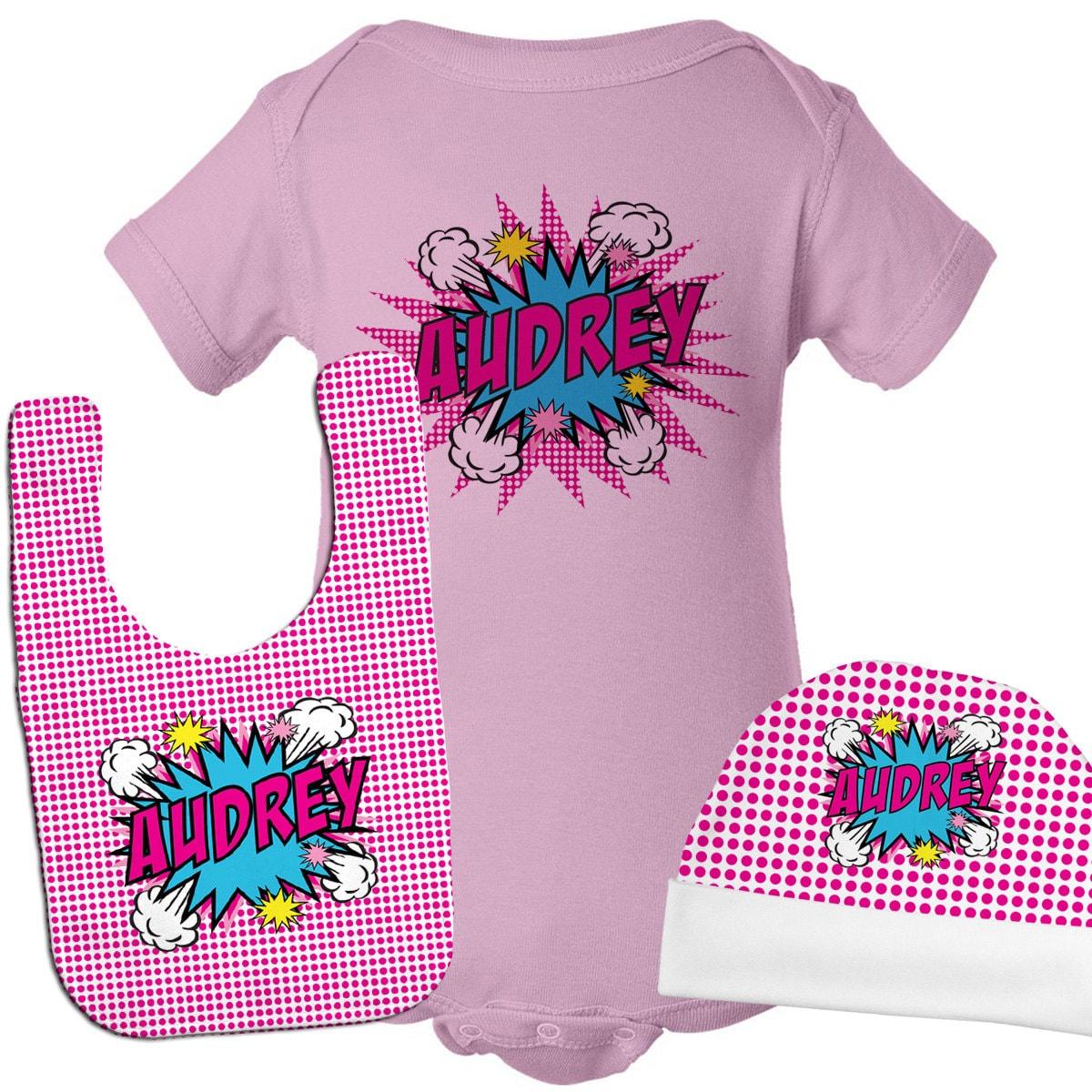 Personalized Baby Gift Sets : Personalized baby gift set superhero girl newborn