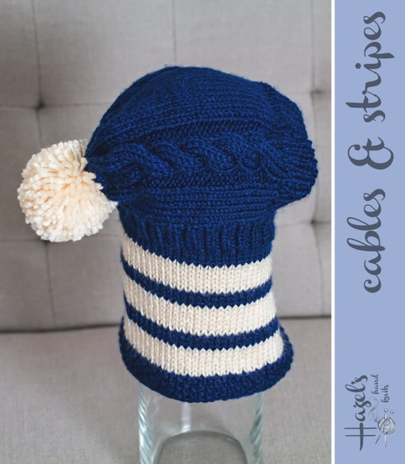 Knitting Patterns For Greyhound Hats : Navy & Cream Hand Knit Greyhound Hat / Snood by ...