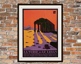 Vintage 1927 La Syrie Et Le Liban Geoffroy D'Abovile Palmyra Syria Tourism Travel Reproduction Print Four Sizes Available